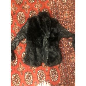Blank NYC faux fur leather jacket